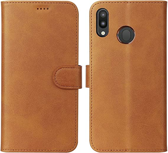 for Samsung Galaxy A20//A30 Leather Wallet Credit ID Card Slots Holder Shockproof Flip TPU Bumper Protective Phone Cover Brown