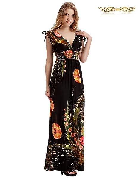 49ab17f371f0 BYD da Donna Taglie Grandi Vestiti Lungo a V Floreale Spiaggia Abiti Maxi  Vestito da Cerimonia Matrimonio Banchetto Sera  Amazon.it  Abbigliamento