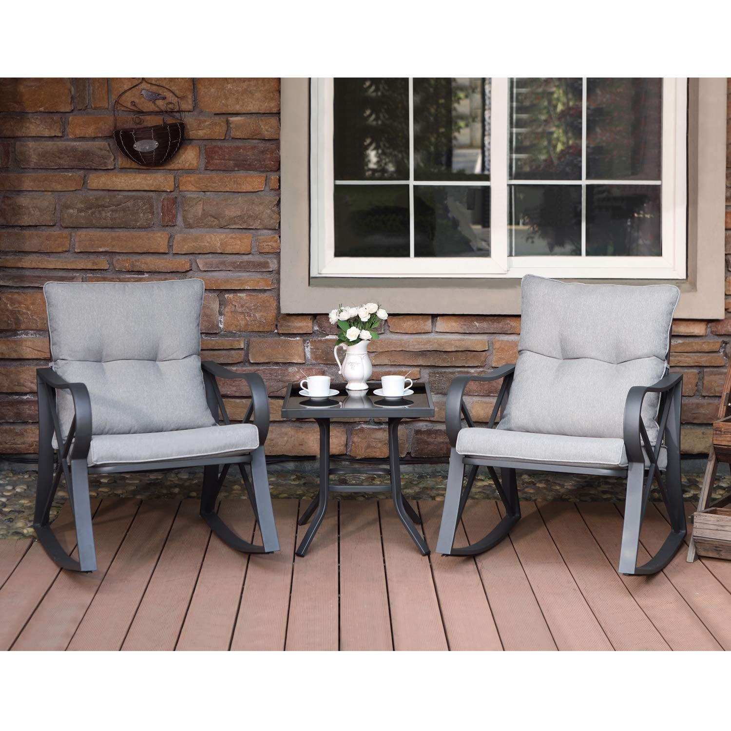 COSIEST 3-Piece Outdoor Patio Furniture Dark Gray Rocking Chairs Bistro Set w Warm Gray Cushions, Glass-Top Table for Garden, Pool, Backyard