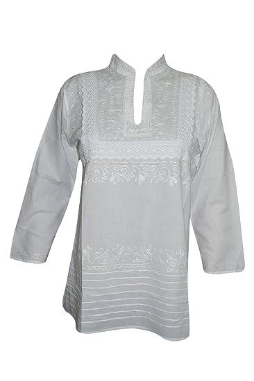 85a885a90aa Mogul Interior Womens Tunic Shirt Cotton White Hand Embroidered Hippie  Kurti Top Blouse: Amazon.co.uk: Clothing