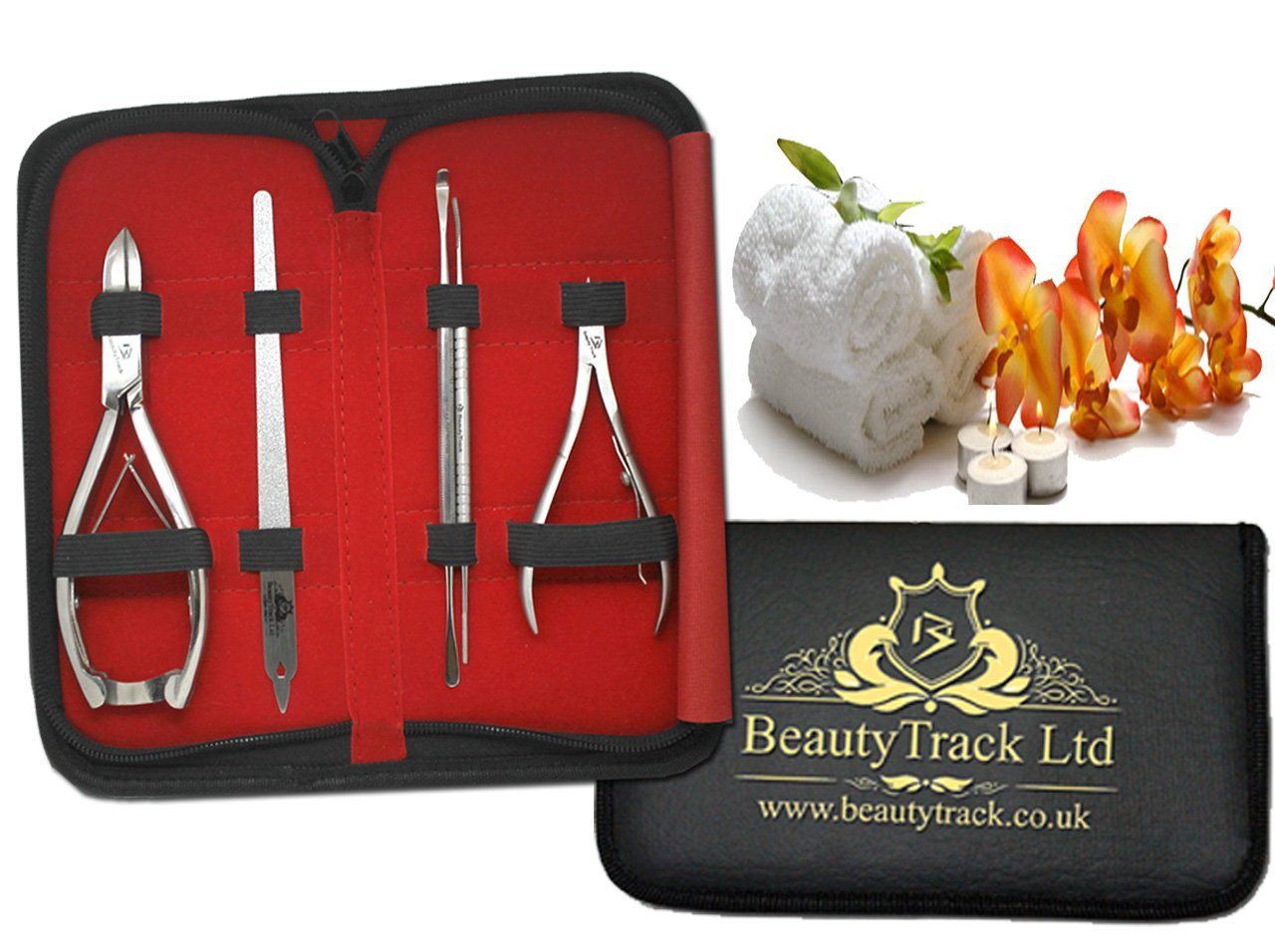 BeautyTrack Professional ingrown Toenail Clipper - Nail Cutter Set + Tools Complete Care for Hands Feet - Cuticle Scissor Forceps - Chiropody - Podiatry instruments