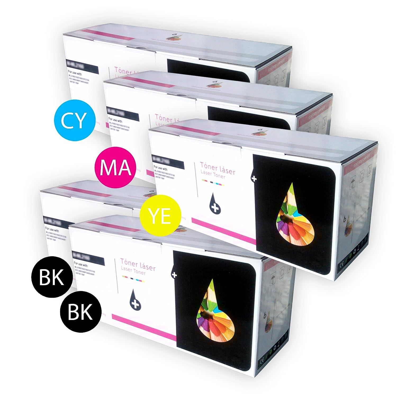5 x Cartuchos de Toner Laser Compatibles Multicolor (2 x Negro ...