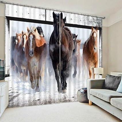 Amazon com: 3D 2 Panel Curtain Set Running Wild Horses Stampede
