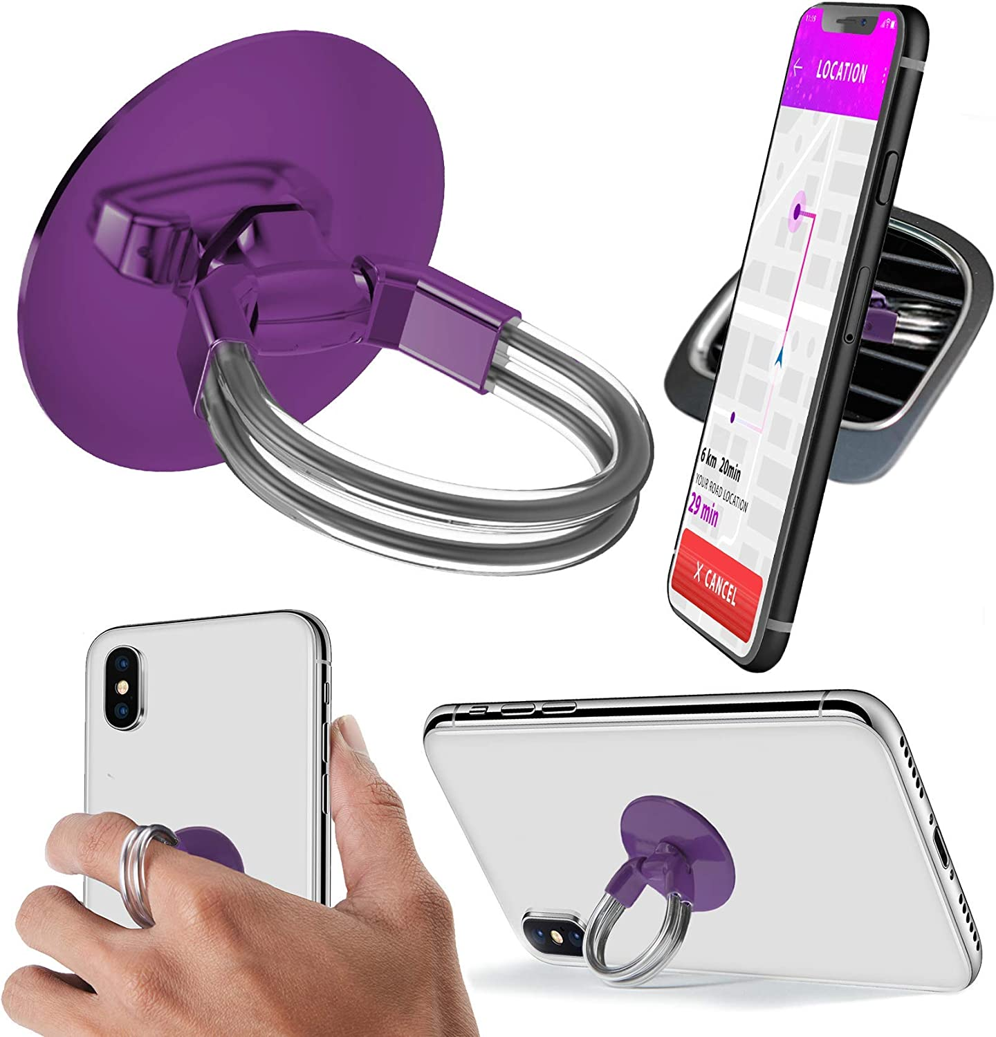 Aduro Phone Ring Holder [3-in-1] - Phone Ring, Phone Stand, Phone Car Vent Mount, Finger Grip Phone Holder for All iPhone, Samsung Galaxy (Purple)