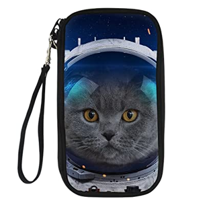 ThiKin CooL Long Travel Passport Wallet Astronaut Cat Lion Head Pattern Custom Wallets
