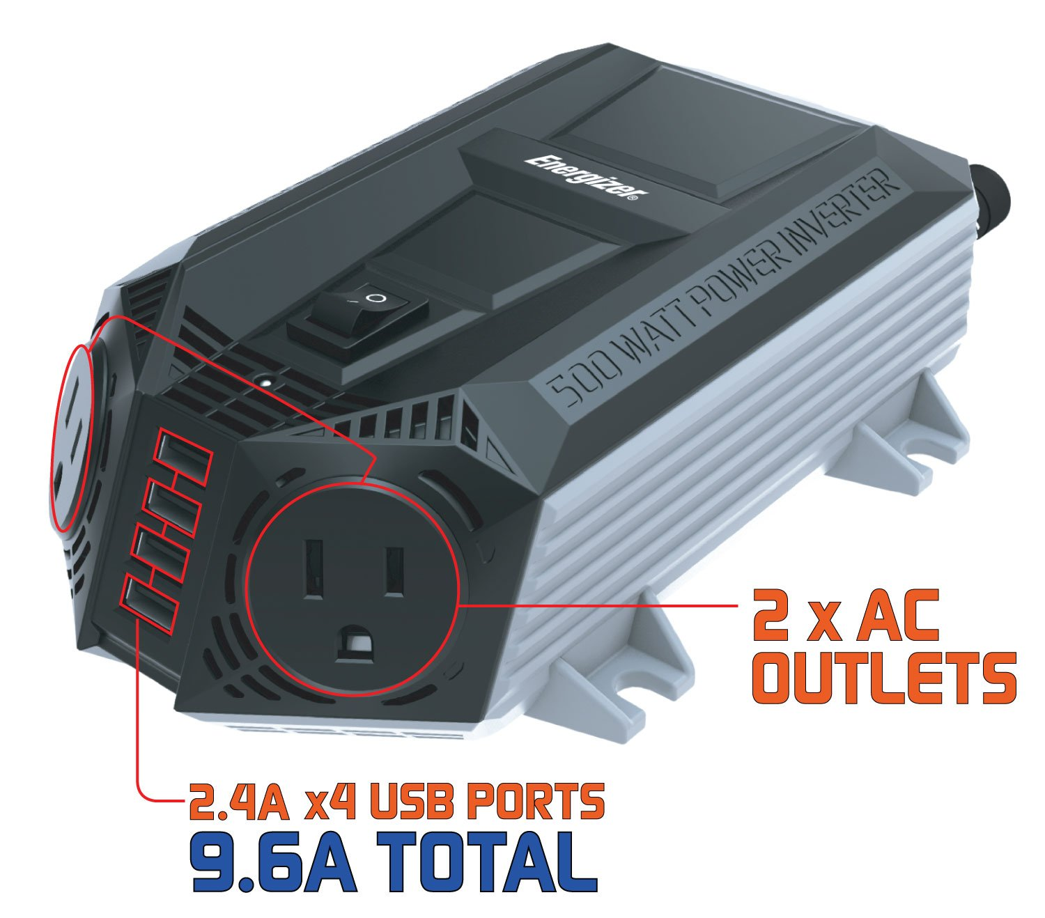 ENERGIZER 500 Watt Power Inverter 12V DC to AC + 4 x 2.4A USB Charging Ports Total 9.6A by Energizer (Image #4)