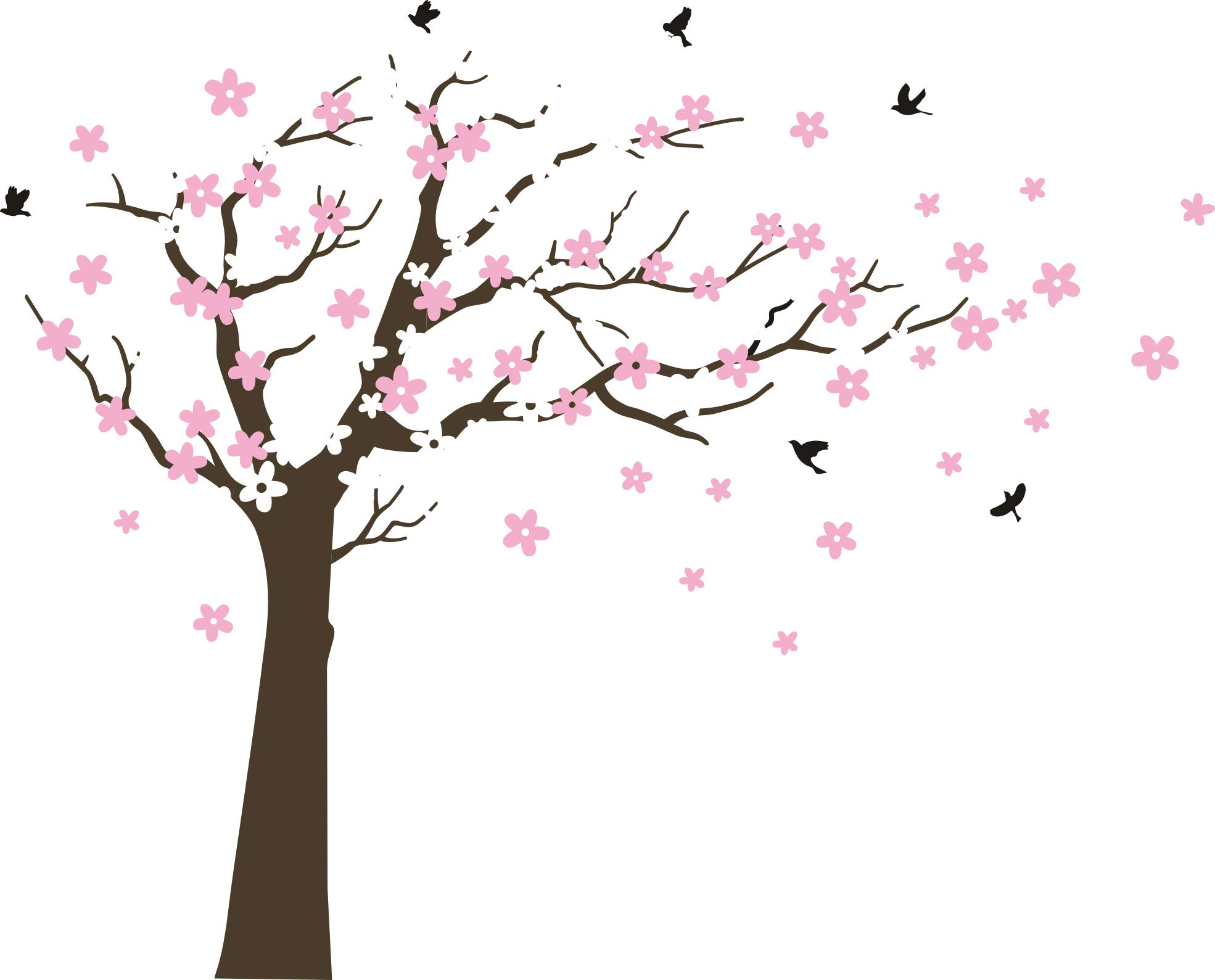 MAFENT Large Cherry Blossom Tree Blowing in The Wind Tree Wall Decals Wall Sticker Vinyl Wall Art Kids Rooms Teen Girls Boys Wallpaper Wall Stickers Room Decor (Dark Brown Tree,White and Pink Flower) by MAFENT