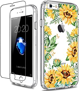 GiiKa iPhone 6 6s Case with Screen Protector, Clear Heavy Duty Protective Case Floral Girls Women Shockproof Hard PC Back Case with Slim TPU Bumper Cover Phone Case for iPhone 6s, Yellow Sunflowers