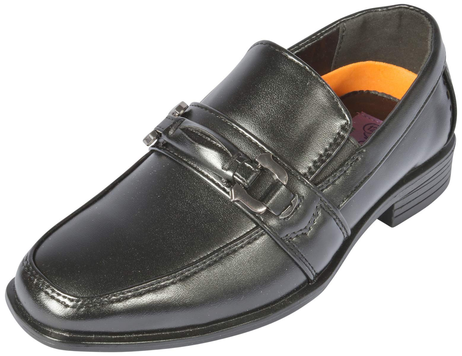 Jodano Collection Boys Memory Foam Slip On Dress Shoe, Black, 8 M US Toddler'