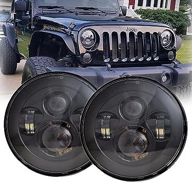 Amazon Com Lx Light 7 Round Black Cree Led Headlight High Low Beam Compatible With Jeep Wrangler Jk Tj Lj Cj Hummber H1 H2 Pair Automotive