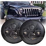 LX-LIGHT 7'' Round Black Cree LED Headlight High Low Beam for Jeep Wrangler JK TJ LJ CJ Hummber H1 H2 (Pair)