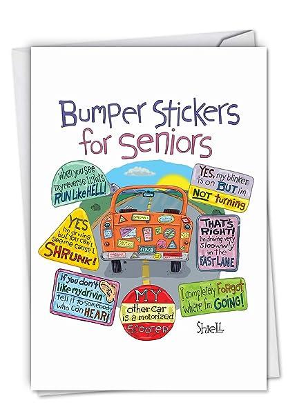 Amazon Senior Bumper Stickers Funny Birthday Card Featuring