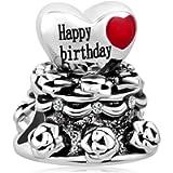 Casa De Novia Jewelry Happy Birthday Charm Cake with Rose Flower Charm for Bracelets