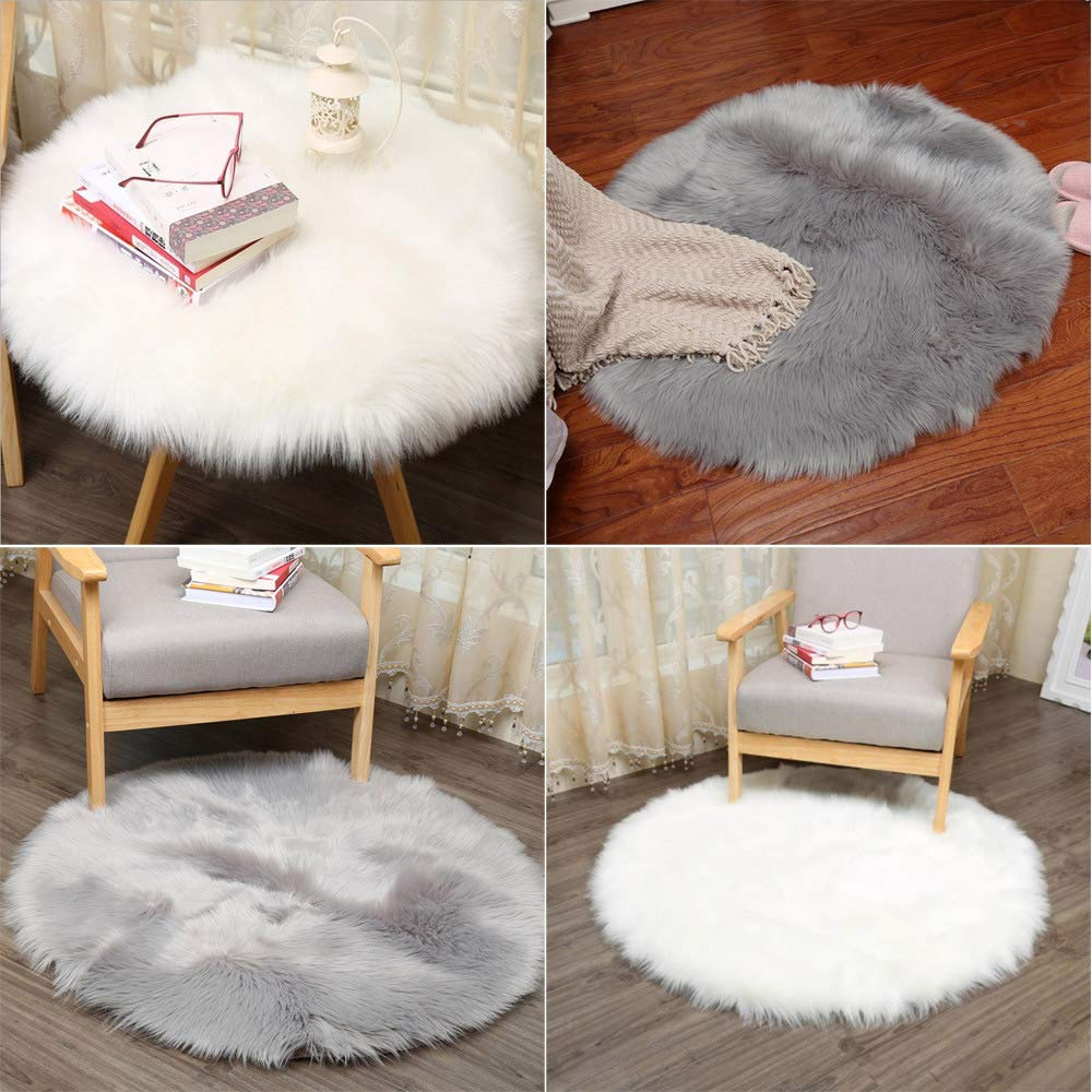 angju Soft Fluffy Floor Carpet Pink Round Shaggy Faux Fur Sheepskin Area Rug Artificial Wool Warm Bedroom Mat Seat Pad Chair Cover Size 40cm