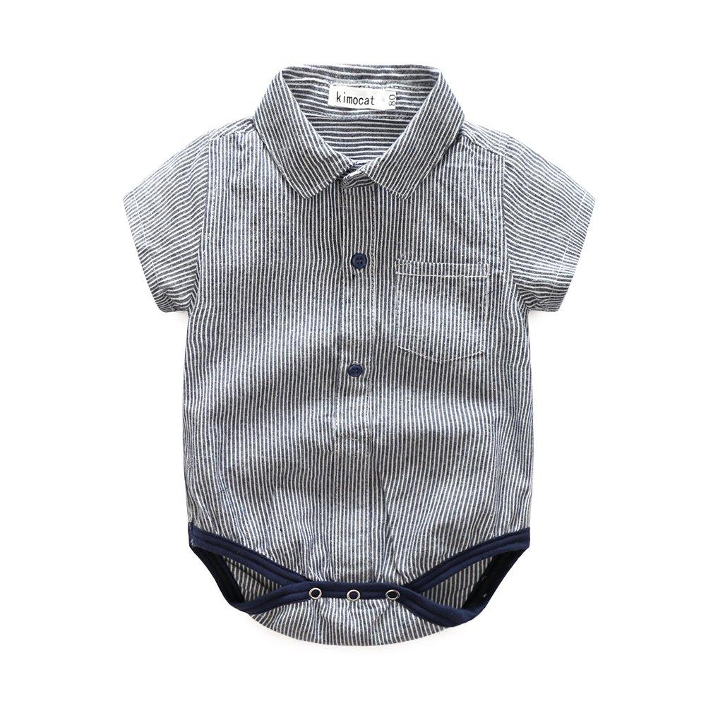 Boys 2Pcs Cotton Short Sleeve Bodysuit Khaki Shorts Summer Clothes Outfits Set