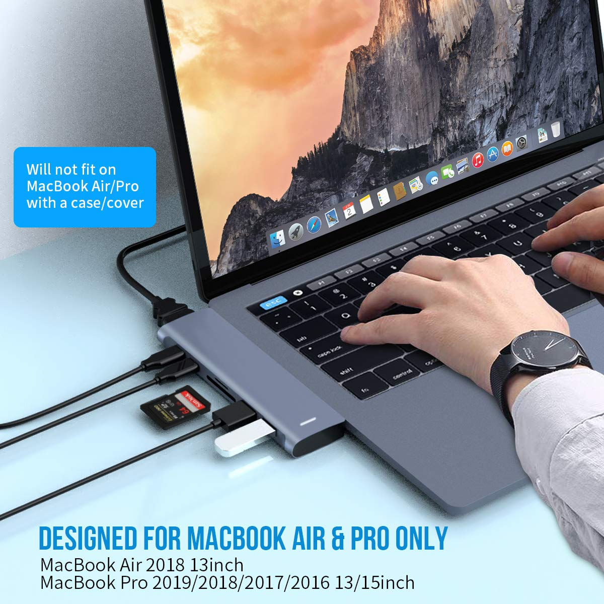 2 USB3.0 and TF//SD Card Reader for MacBook Pro 2019//2018//2017,MacBook Air 2018 USB C Hub for MacBook Pro,7-in-2 USB C to HDMI 4K Adapter with 1 Thunderbolt3,1 USB-C PD Port