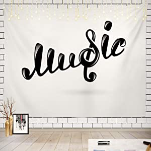 Batmerry Music Tapestry, Treble Clef G Clef Musical Symbol Picnic Mat Beach Towel Wall Art Decoration for Bedroom Living Room Dorm, 51.2 x 59.1 Inches, White Black