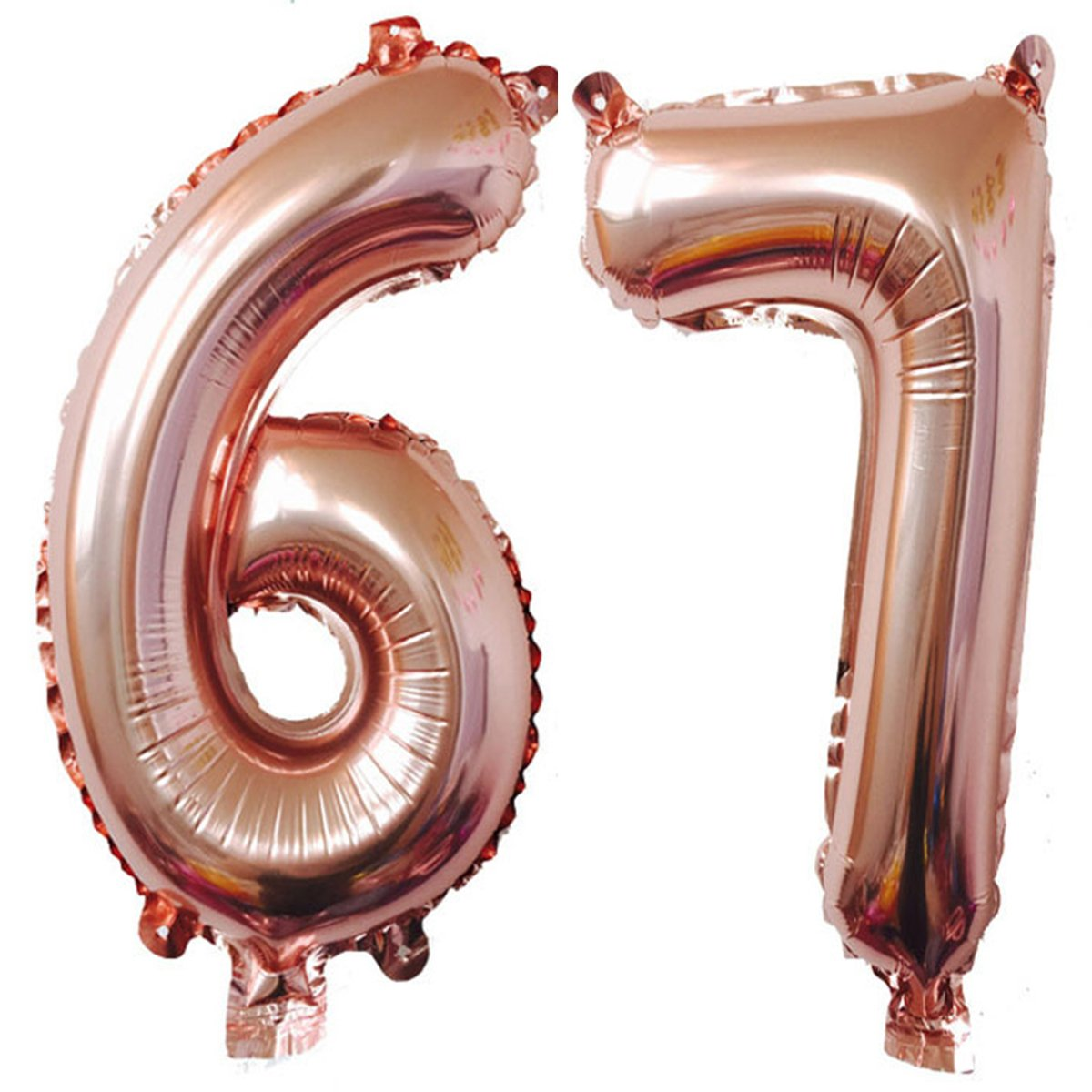40インチローズゴールド箔ヘリウムジャンボ67デジタル数のバルーンレディースorメンズ、67、67th誕生日デコレーション誕生日パーティーSupplies   B07B8G177Q