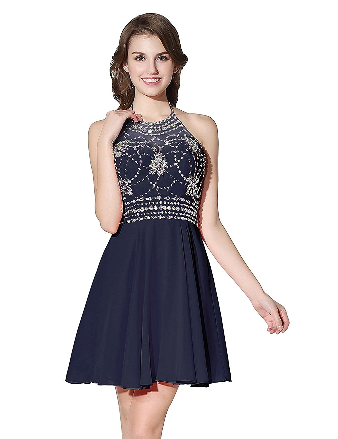 394navy bluee Sarahbridal Women's Short Tulle Beading Homecoming Dresses 2019 Prom Party Gowns