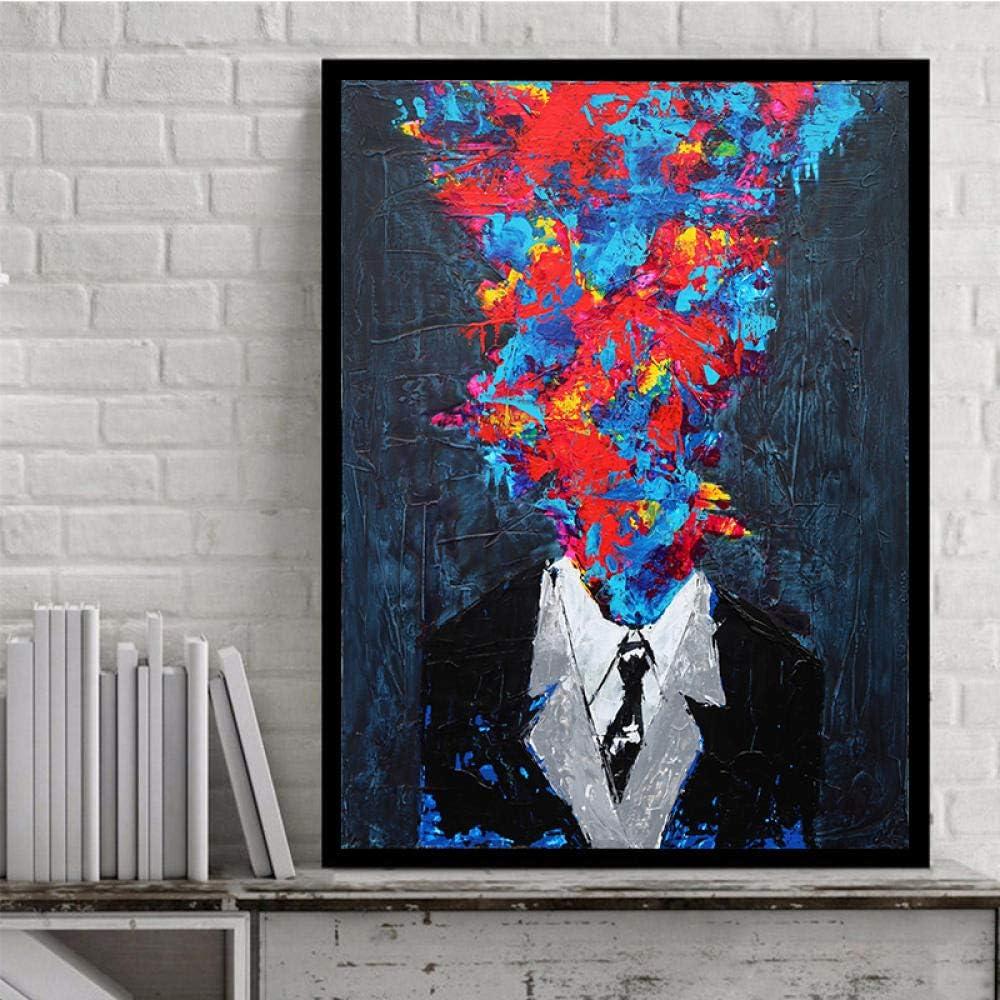 Abstracto Lienzo Pared Arte Colorido Cara Hombre Banksy Pintura Impresiones Poster Escandinavo Cuadro para Salon Habitación Hogar Decoracion 50x70cmx1 No Marco