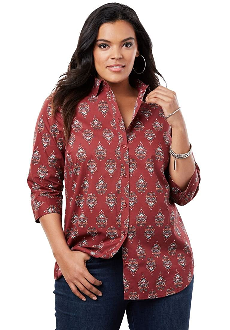 Roamans Women's Plus Size Three-Quarter Sleeve Kate Shirt