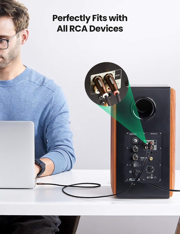 Amplificador Smart TV Zinc Carcasa Cable Jack Macho a RCA Compatible con HiFi Sistema DVD Soundbar,1Metros MP3 2RCA a Mini Jack Audio Cable Nylon Trenzado Altavoz UGREEN Cable RCA a Jack 3.5mm
