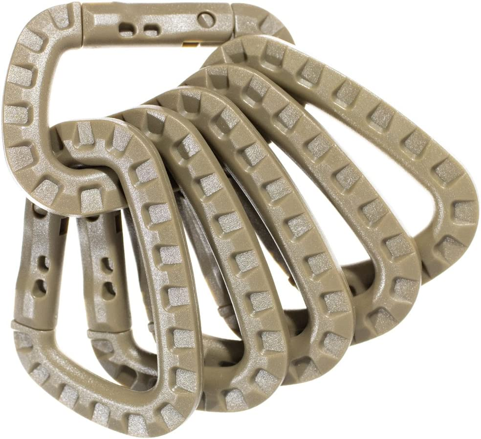PARACORD PLANET Tactical Carabiner Keychain 6 Pack - Durable Plastic Carabiners - Lightweight Spring Snap Gear - Utility Hooks for Backpacks, Buckles, Hanging Gear, and Outdoor Recreation