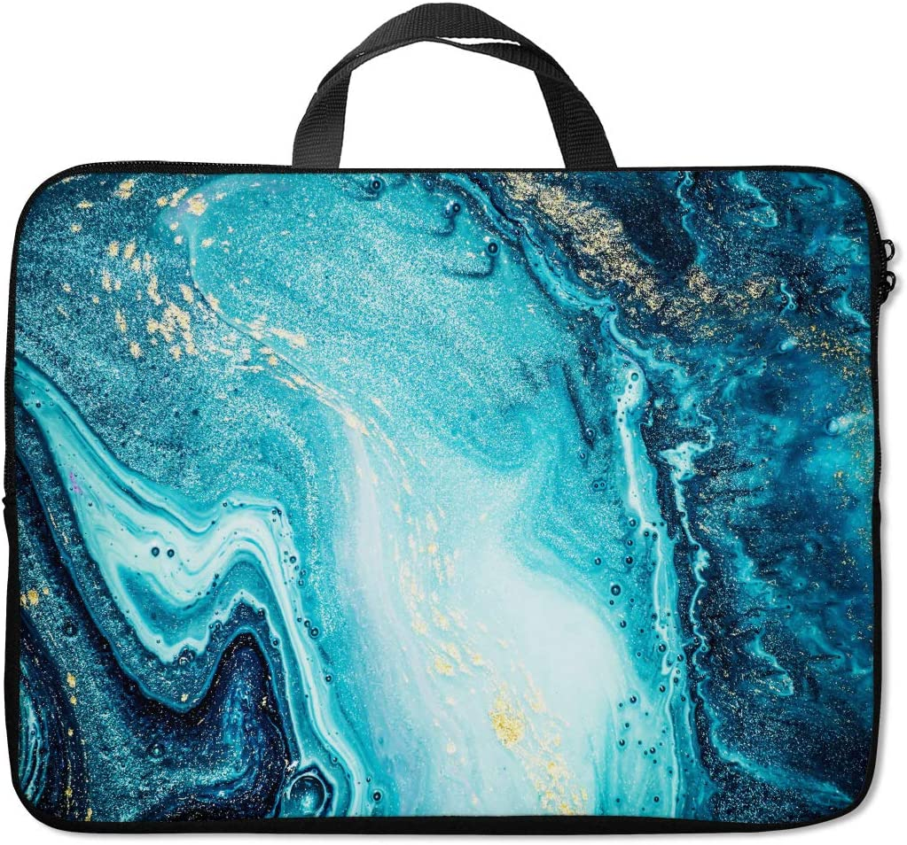 Britimes Laptop Sleeve Case Protection Bag Waterproof Neoprene PC Cover Water Resistant Notebook Handle Carrying Computer Protector Blue Marble 14 15 15.6 inches