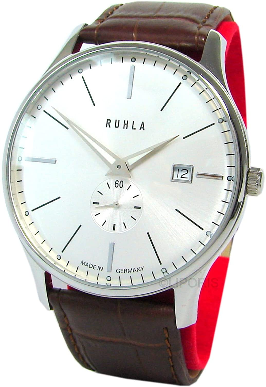 Ruhla classic 91235 Garde Herrenuhr rund Lederband braun Armbanduhr Zifferblatt weiss Datum