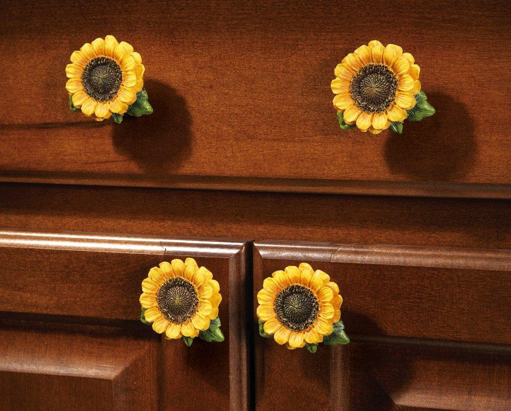 sunflower country cabinet drawer pulls set of 6 amazoncom - Sunflower Kitchen Decor