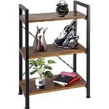TomCare Bookshelf  3-Tier Wood and Metal Shelves Industrial Bookcase Display Office Storage Rack Multifunctional Furniture fo
