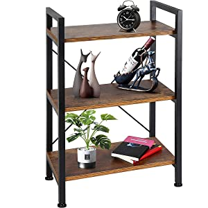 TomCare Bookshelf3-Tier Wood and Metal Shelves Industrial Bookcase Display Office Storage Rack Multifunctional Furniture for Entryway Living Room Bedroom Home Office Kitchen