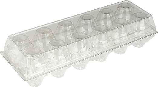 Plastic Egg Cartons 6 Holder 1//2 Half Dozen Clear Transparent 25 Pack