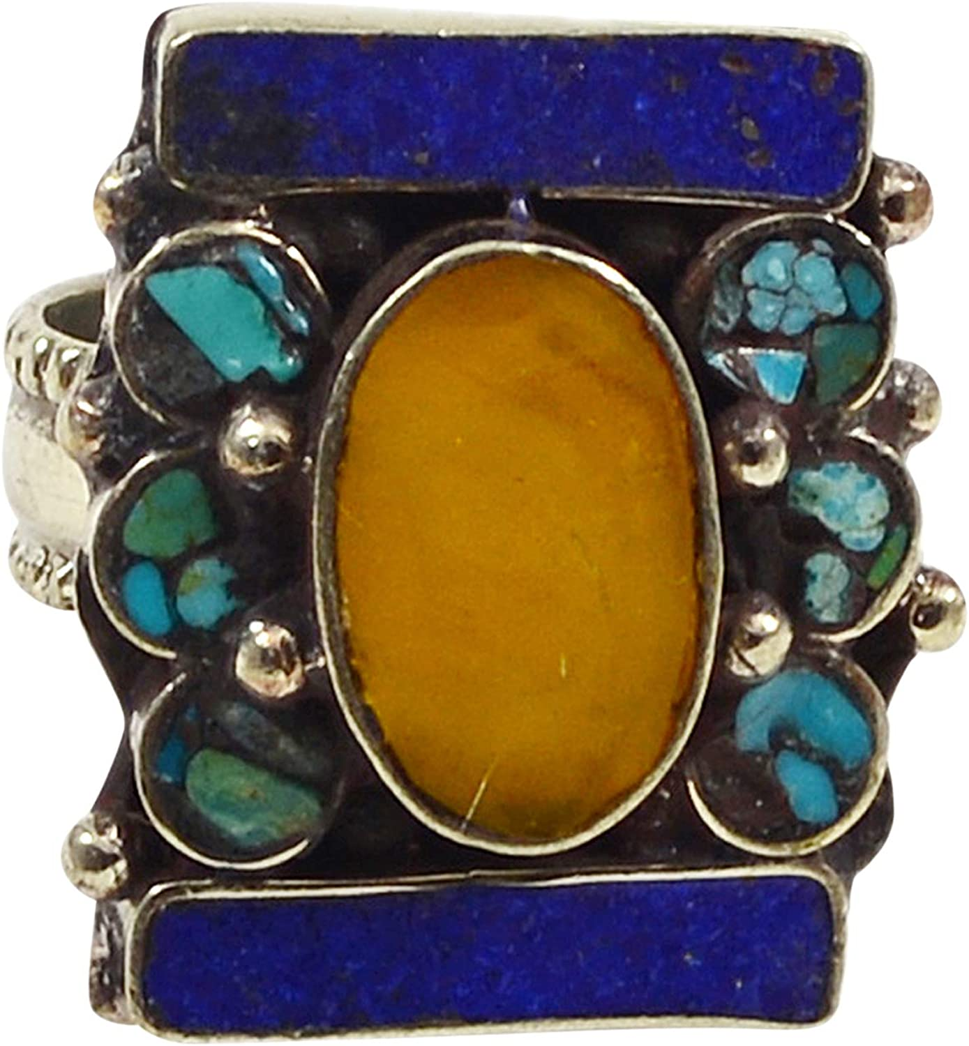 Saamarth Impex Lapis Lazuli /& Turquoise 925 Silver Plated Ring Sz 10 PG-117776