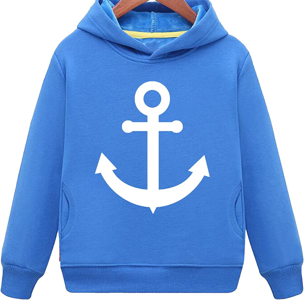 Kids Two Pockets Fashion Boat Anchor Print Casual Hoodie