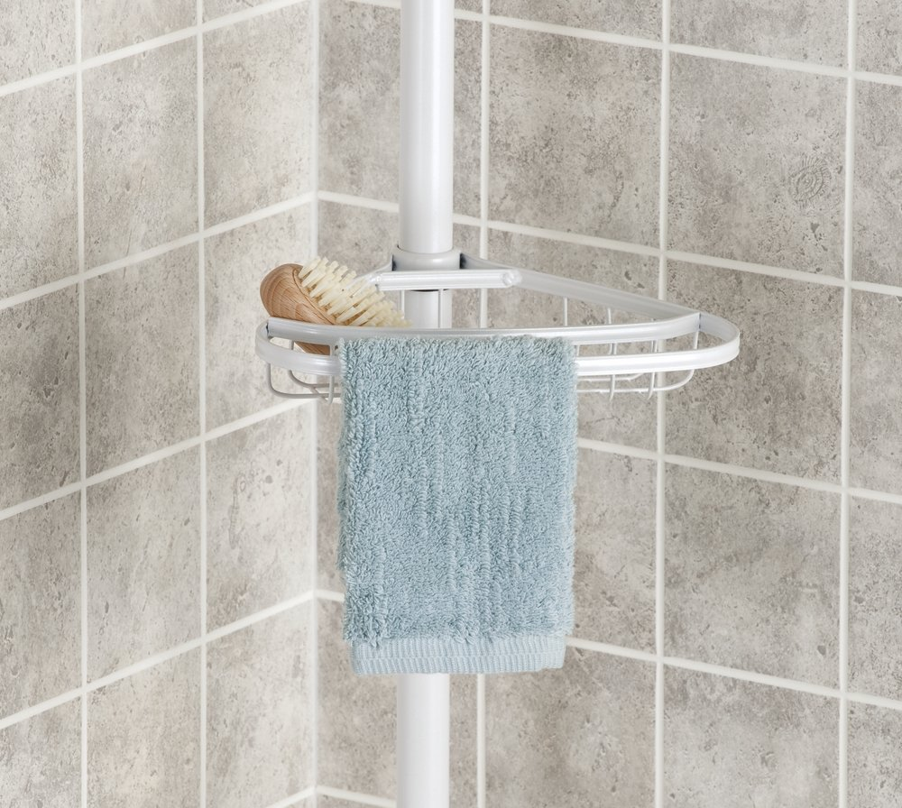 mDesign Telescopic Shower Caddy - Stainless Steel Shower Caddy - No ...