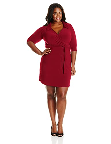 Star Vixen Women's Plus-Size Three-Quarter Sleeve Faux-Wrap Dress