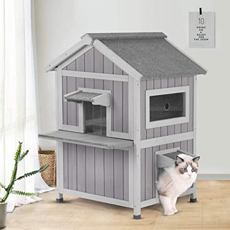 Gutinneen Outdoor Cat House Indoor Shelter With Escape Door Weatherproof Elevated Feral Kitty House Air Circulation Pet Supplies