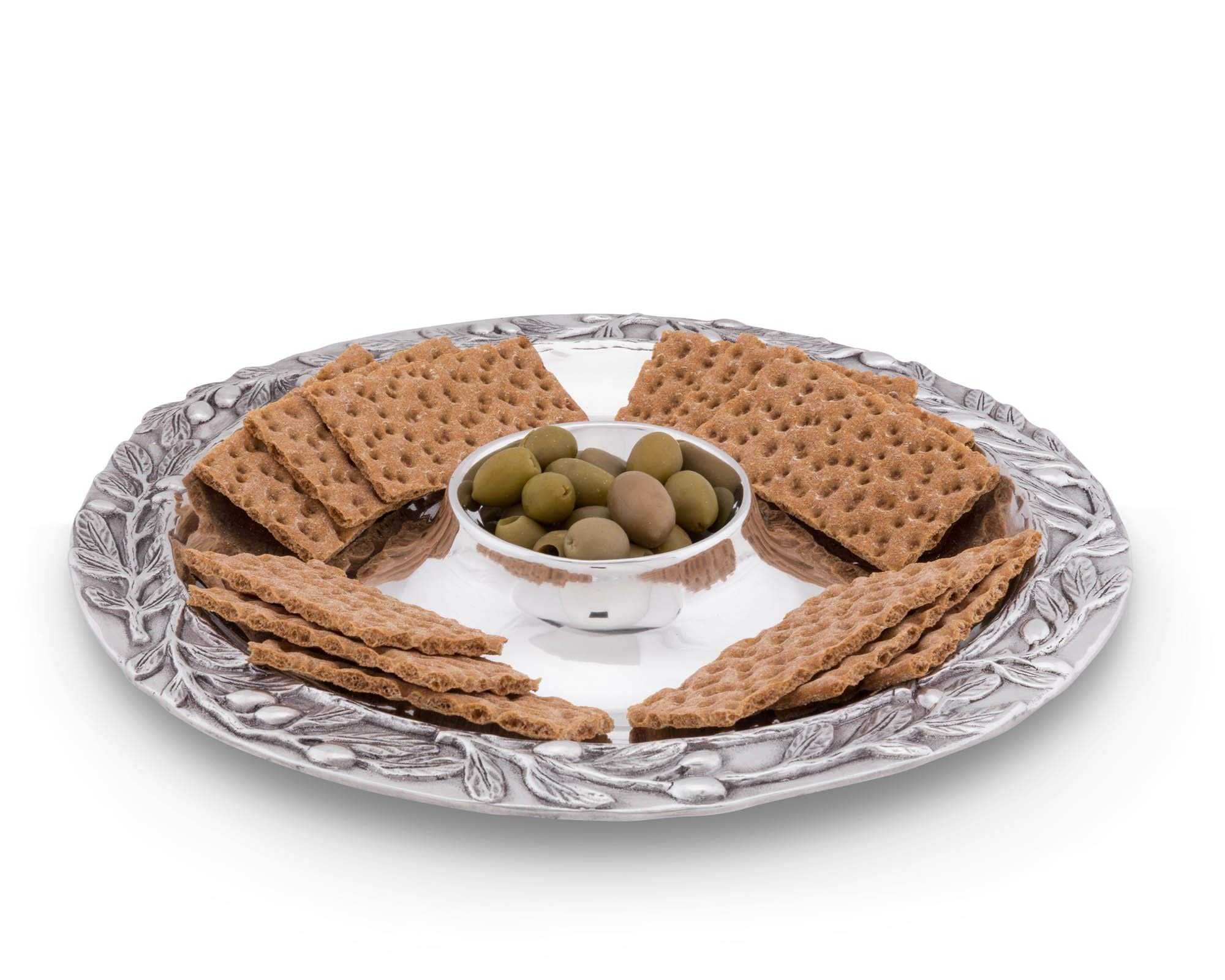 Arthur Court Sand-Cast Olive Pattern Aluminum Large Chip and Dip Tray, 16'' Diameter