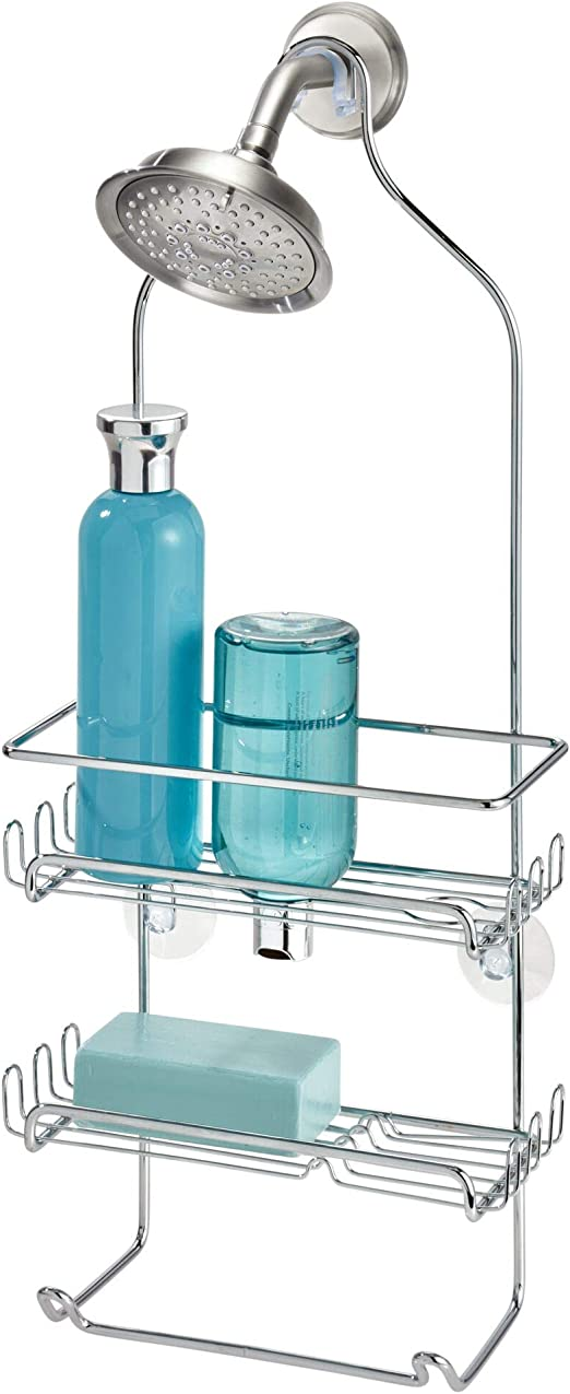 iDesign Milo Metal Wire Hanging Shower Caddy Baskets and Towel Bar for Shampoo
