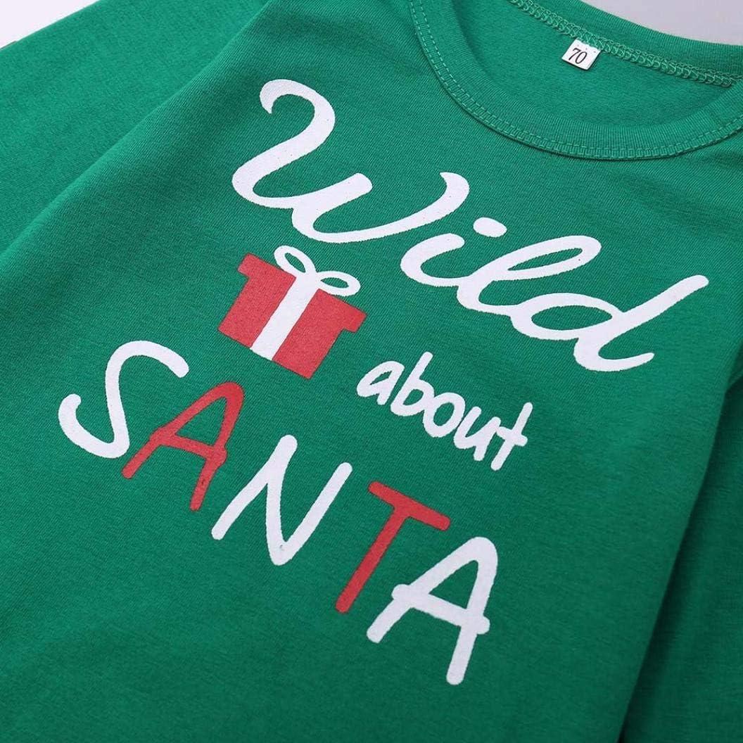 Staron  Newborn Baby Boy Girls Christmas Striped Romper Tops+Pants+Hat Outfits Set