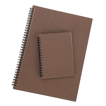 Lot de 2 A4 + A6 cuaderno con espiral en Kraft y Block ...