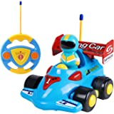 Cartoon RC Race Car with Music and Lights Electric Radio Control Toy for Baby Toddlers Kids and Children Train Toy for Kids Birthday Gift Present, Sky Blue