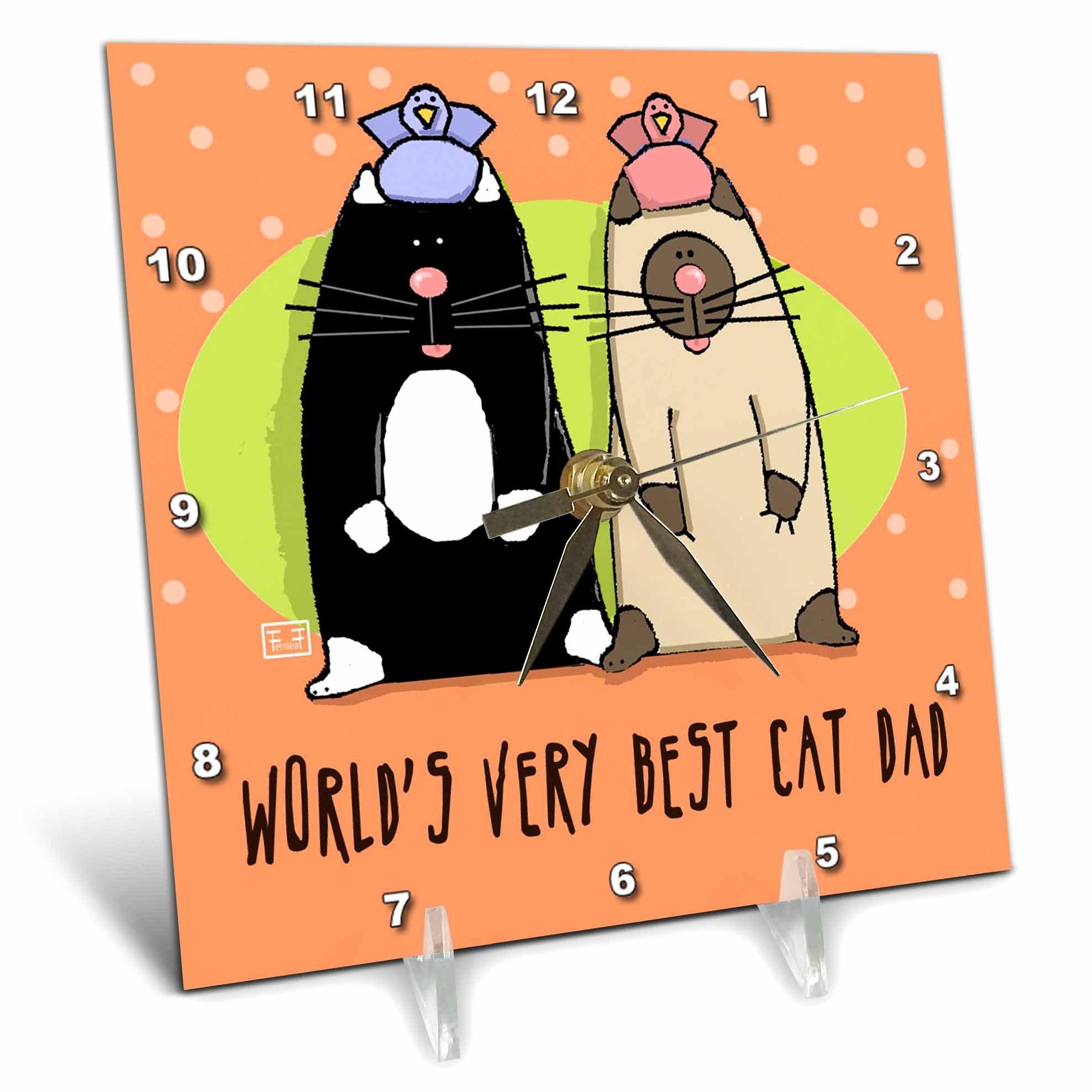 3dRose dc_33982_1 World S Best Cat Dad Cute Cartoon Kittens Pets Animals-Desk Clock, 6 by 6-Inch by 3dRose