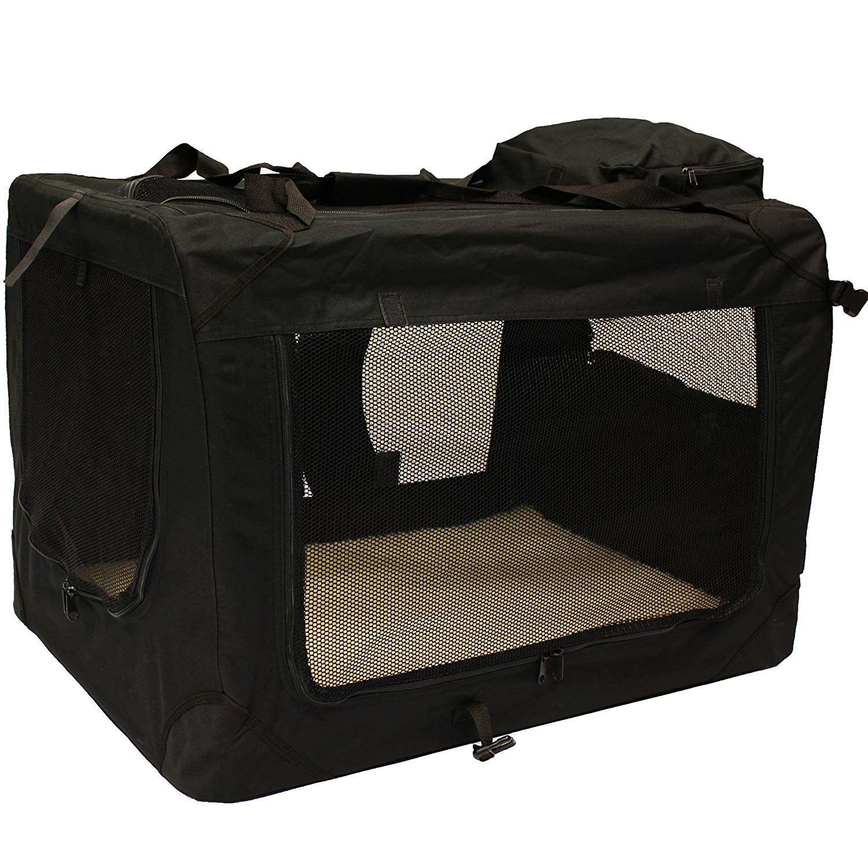 Lightweight Fabric Pet Carrier Crate with Fleece Mat and Food Bag,Black,M70  52  52CM