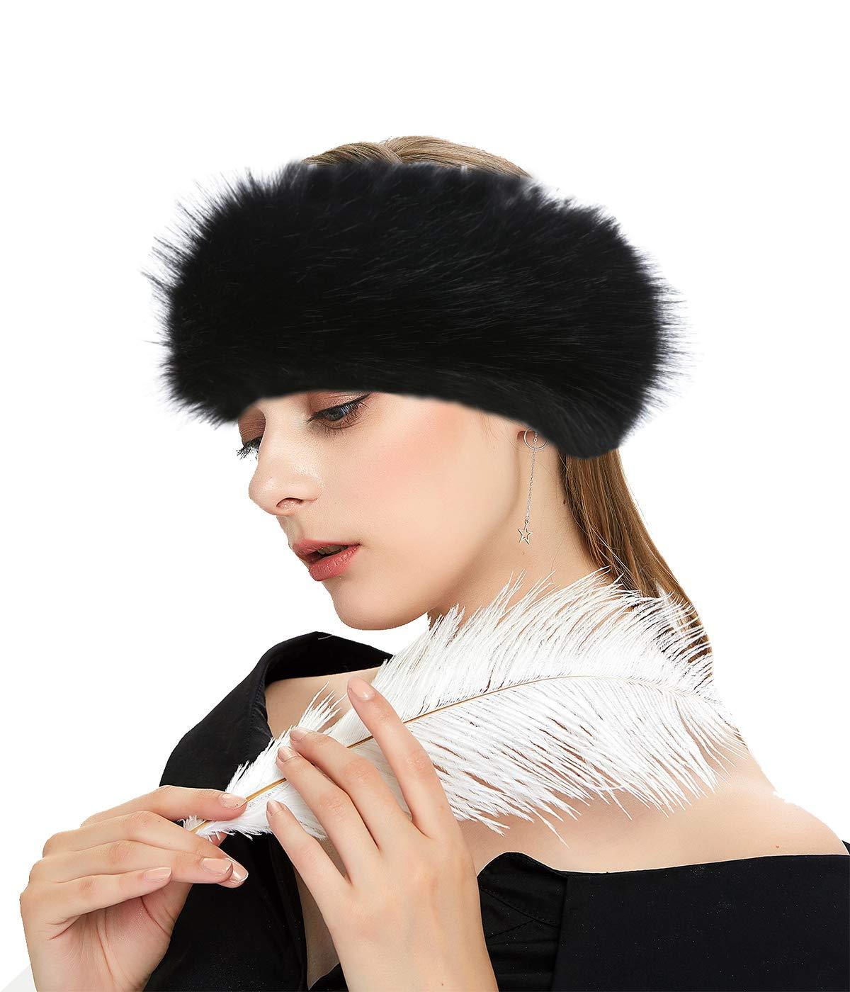 Lucky Leaf Cozy Warm Hair Band Earmuff Cap Faux Fox Fur Headband with Stretch for Women (B1-Black) by Lucky Leaf