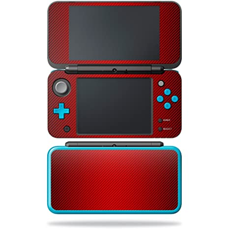 amazon com mightyskins skin for nintendo new 2ds xl red carbon
