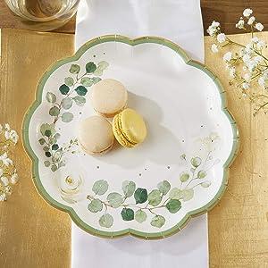 Kate Aspen Botanical Garden 9 Premium Paper (Set of 16) Decorative Plates, 9 Inch, Green