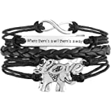 Jiayiqi Jewelry Fashion Infinity Love Cute Elephant Multilayer Handcraft Leather Bracelet Gift Idea