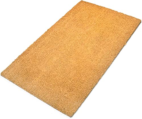 Tosnail 29.5 x 17.75 Natural Coco Coir Outdoor Doormat with Non Slip Backing